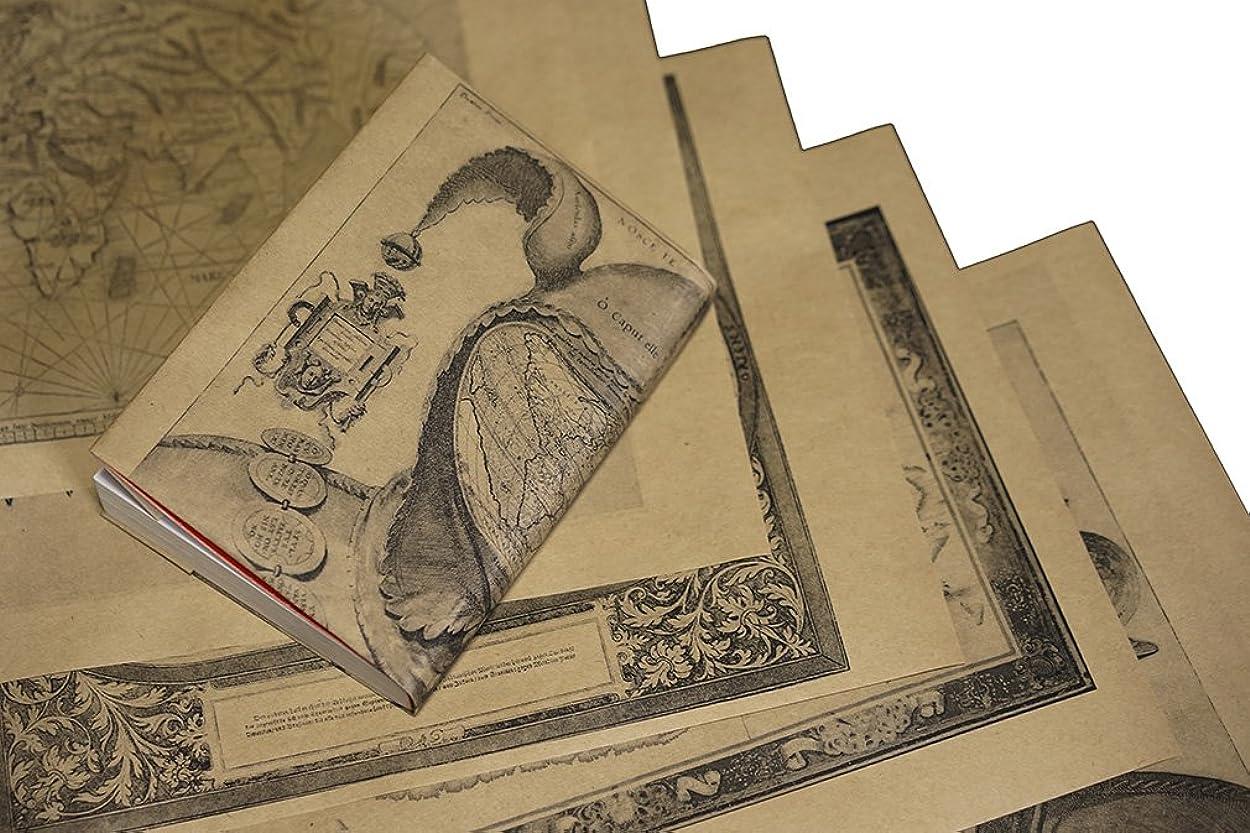 モードリンタップまだ紙製ブックカバー 16世紀の世界地図 (クラフト紙)