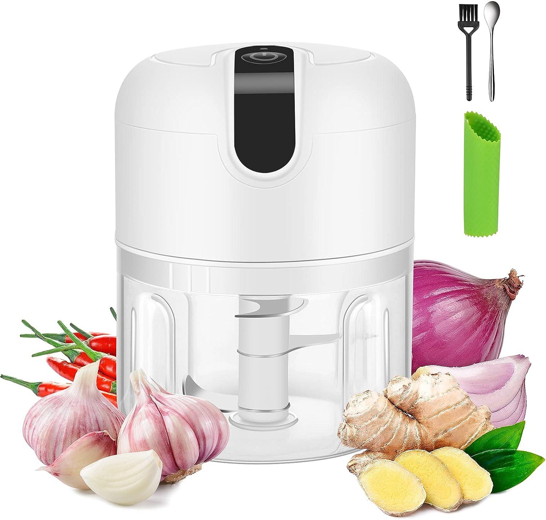 Cadai Mini Electric Garlic Chopper,USB Rechargeable garlic mincer chopper,Portable250ml Garlic Chopper Set include Garlic Peeler,Waterproof Seasoning blender for garlic, onion, pepper, ginger(White)