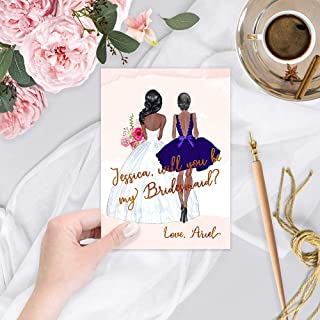 Bridesmaid African American Bride and Bridesmaid, Will You Be My Bridesmaid Card, Will You Be My Maid of Honor Cards, Thank you for being my Matron of Honor,Wedding Cards