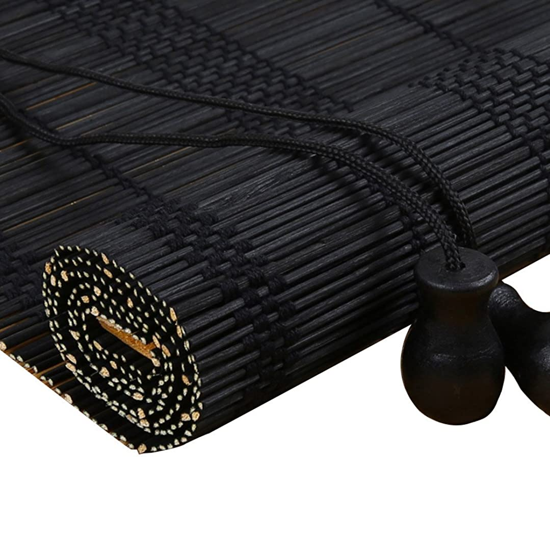 形状検出主導権ZEMIN ウッドブラインド バンブー ローラーブラインド ヴェネツィア シェード ナチュラル 健康 ハンドリフティング、 3色、 23サイズ (色 : ブラック, サイズ さいず : 50x150CM)