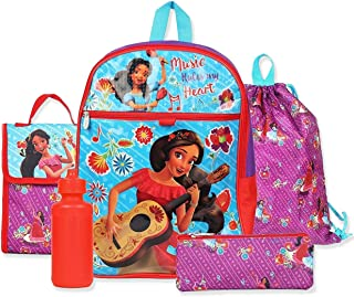 Princess Elena of Avalor Girl's 5 piece Backpack and Snack Bag Set (One Size, Red/Blue)