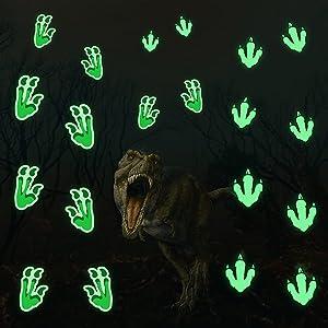 MESU Glow in The Dark Dinosaur Paw Stickers Luminous Dinosaur Footprints Wall Decals Fluorescent Ceiling Decor for Boys Gift Dinosaur Paw