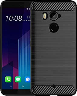 LiXiongBao Case for HTC U11+ Plus Black Soft TPU Silicon Luxury Carbon Fiber Brushed with Texture Design Lightweight Shockproof Rubber Bumper Protection Case Cover for HTC U11+ Plus