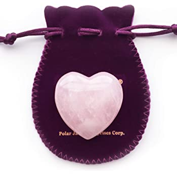 "Polar Jade Heart Shaped Rose Quartz Puffy Heart Stone 45mm (1.8"") for Chakra Energy Healing, Reiki, Meditation, Massage and Decoration"