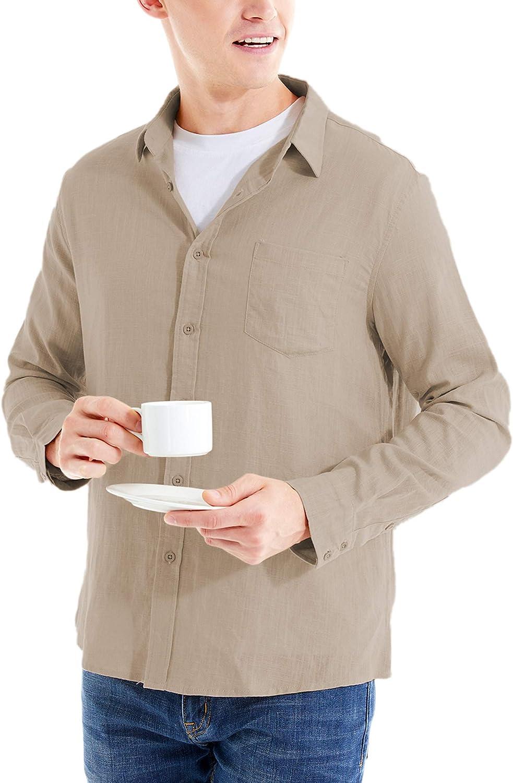 LecGee Men's Cotton Linen Shirt Regular Fit Short Sleeve Button Down Beach Shirt