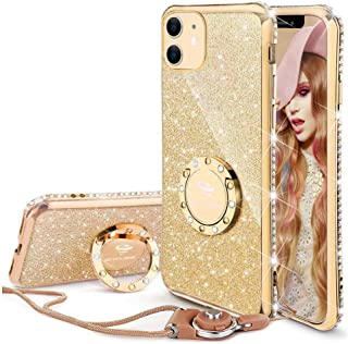 Cute iPhone 11 Case, Glitter Luxury Bling Diamond Rhinestone Bumper with Ring Grip Kickstand Protective Thin Girly Pink iPhone 11 Case for Women Girl [6.1 inch] 2019 - Gold