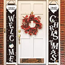 AOOTOOSPORT Christmas Outdoor Decorations, Welcome and Merry Christmas Banner, Christmas Front Porch Sign New Year Hanging Sign for Holiday Home Indoor Outdoor Porch Wall Christmas Decoration