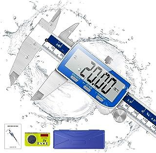 Pie de Rey, Qfun Calibre Digital Profesional 150mm de Acero Inoxidable con Gran Pantalla LCD, Pie de Rey digital a prueba de agua y de polvo para uso doméstico e industrial