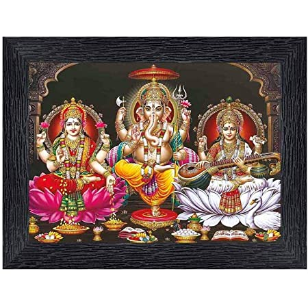 PnF Diwali Puja (laxmiji, Ganeshji,Saraswatiji) Religious Wood Photo Frames with Acrylic Sheet (Glass) for Worship/Pooja(photoframe,Multicolour,8x6inch) 20431