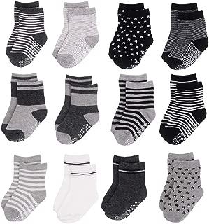 12 Pairs Baby Toddler Socks with Grips Non Skid Anti Slip Ankle Socks for Walker Kids 12-24 Months
