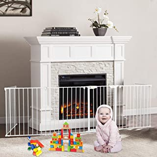 Rungfa 6pc Fireplace Gate Fence Pet Cat Steel Fire Gate Baby Safety Fence Hearth Gate