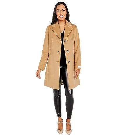 Calvin Klein Classic Single Breasted Wool Coat (Camel) Women