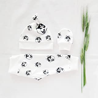 Husky Print Organic Cotton Baby Set of Newborn Hat, Mittens, and 0-3 M Leggings