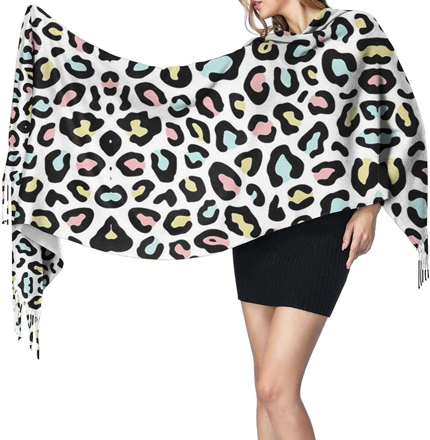 Leopard Pink Cashmere Feel Scarf Lightweight Soft Scarfs For Boys Girls Creative Warm Cold Weather Blanket Scarf