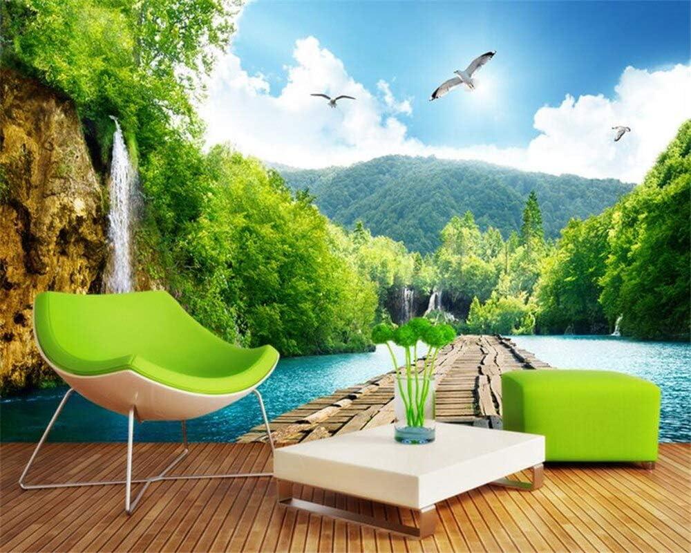 JFSJDF Wallpaper Landscape Very popular Max 79% OFF Waterfall 3D Wooden Bridge