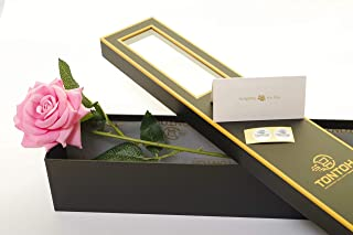 Tontoh Artificial Single Rose in Luxury Gold Trim Gift Box, Perfect for Someone Important to You on Any Occasion (Pink Ros...