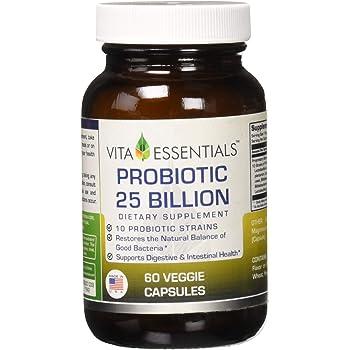 Vita Essentials Probiotic 25 Bil 10 Strains Veggie Capsules, 60 Count