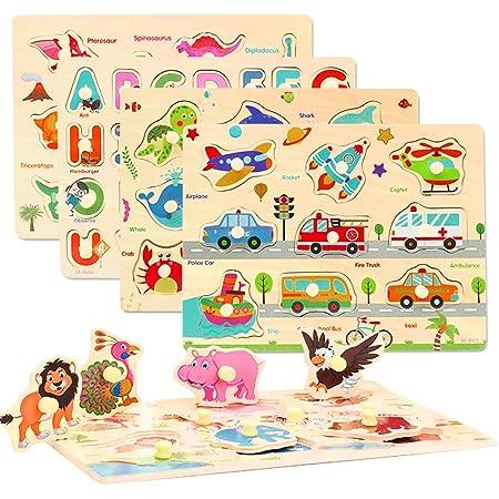 CORPER TOYS 木製パズル 型はめパズル かたはめパズル 積み木 形合わせ 形認識 パズル 英語おもちゃ 5種類シリーズ 男の子 女の子 カラフル プレゼント クリスマス 71PCS 6歳以上