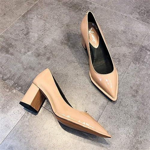 ELEGENCE-Z Talons Hauts, Europe et Amérique Haut de Gamme Haute qualité Cuir véritable Surface de Peinture épaisse Talon Pointu Chaussures Simples