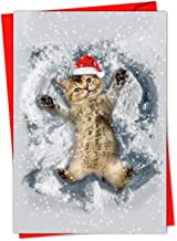 12 'Critter Snow Angels' Boxed Christmas Cards w/Envelopes 4.63 x 6.75 inch, Cute Kitty Cat Making Snow Angels Holiday Notes, Kitten Playing in Snow Cards, Animal-Themed Stationary C4187BXSG-B12
