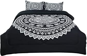 uxcell King 3-Piece Bohemian Comforter Sets - 3D Printed Bohemia Themed - All-Season Down Alternative Quilted Duvet - Reversible Design - Includes 1 Comforter, 2 Pillow Cases
