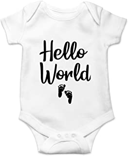 CBTwear Hello World - Newborn Coming Home Outfit - Cute Infant One-Piece Baby Bodysuit