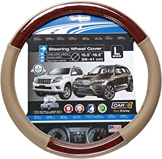 CHROME LINE LARGE steering wheel cover, Two tone Beige and Wood Grain design with a Chrome accent, fits all 15.5