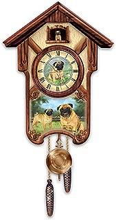 The Bradford Exchange Linda Picken's Playful Pugs Wooden Cuckoo Clock