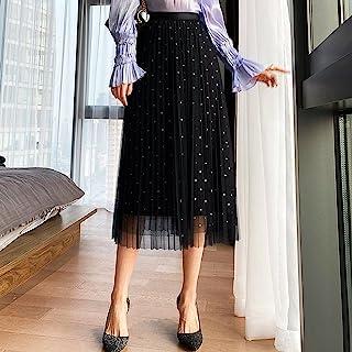 ZJMIYJ Kjolar för kvinnor – prickig guldstämpel tyllkjol dam hög midja veckad svart nät midi långa kjolar vår kvinnors ele...