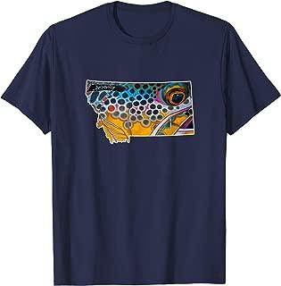 Montana shape Brown Trout Fish T-Shirt Derek DeYoung Art
