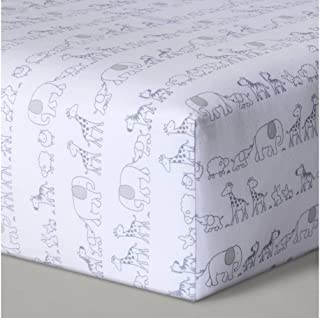 Fitted Crib Sheet Two by Two Animals- Cloud Island - Gray