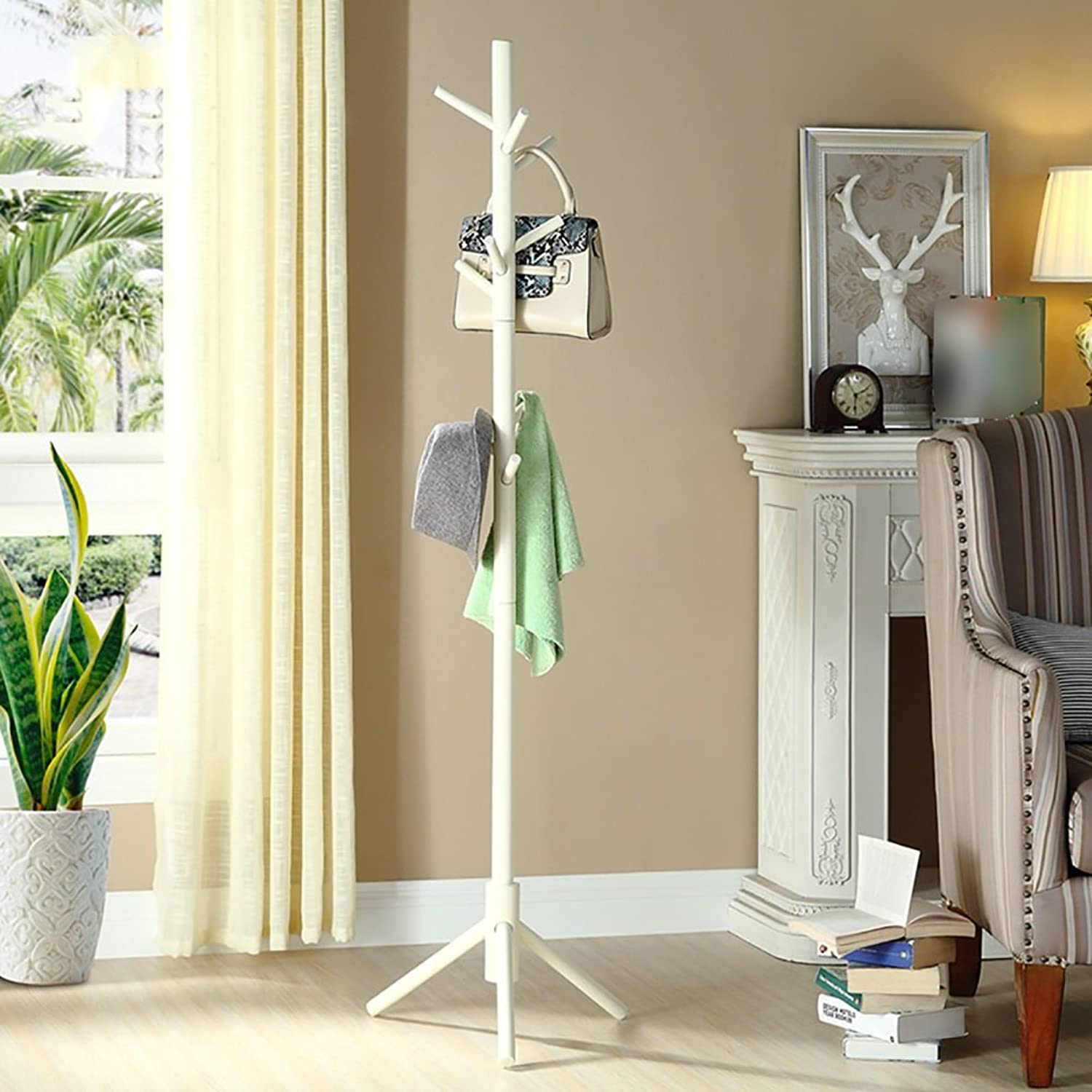 LFF- All Solid Wood Hangers Simple Modern Household Single-Pole Clothes Rack 42×42×168.5cm Bedroom Floor Hanger (color   White)