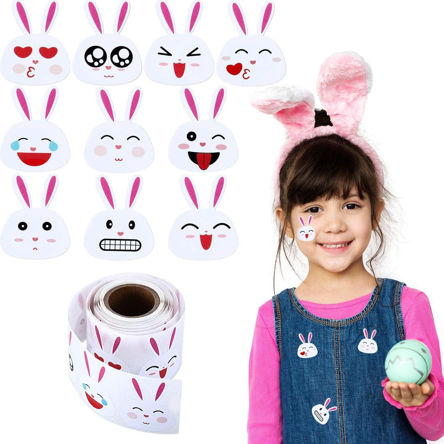 Easter Stickers 1.5 Inch Permanent Adhesive Labels Hcode 200 Pieces Easter Bunny Stickers Emoji Bunny Face Stickers 200 pcs