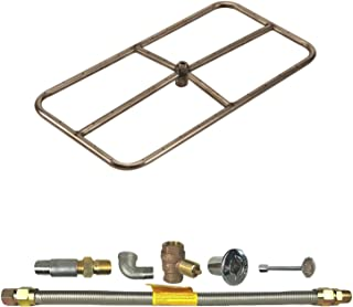 Spotix HPC Rectangle Fire Pit Burner Kit (FPSR24X12KIT-LP-MSCB), 24x12-Inch Burner, Match Light, Propane