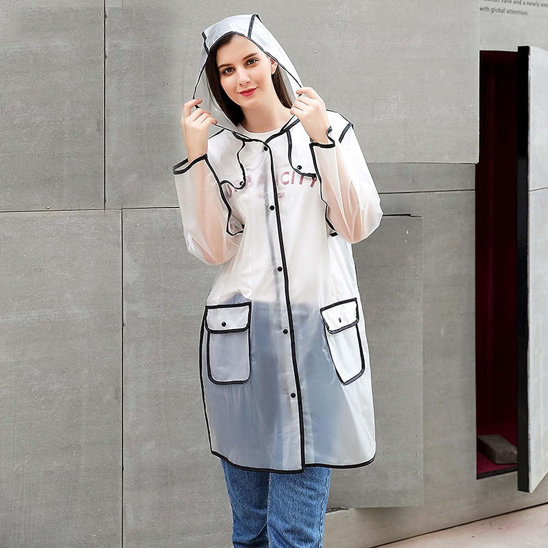 FHGH TPU Edging Long Raincoat, Reusable Transparent Hooded Rain Poncho, Portable Adult Rain Jackets,Black,XLarge