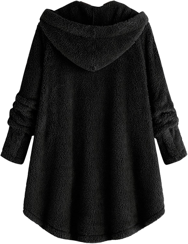 XCVBX Damen Mäntel Frauen Plüsch Herbst Winter Krawatte gefärbte einfarbige Langarm halten warm Mode Mantel Kapuzenjacke Schwarz 4