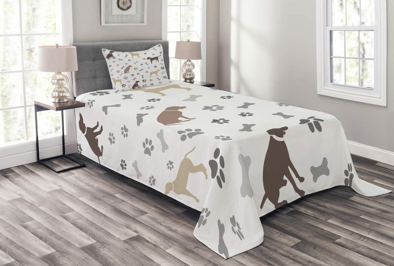 Ambesonne Dog Lover Bedspread Genuine Free Shipping Outlet SALE Paw and Print Bones Silhouett