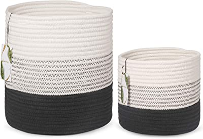 "LEEPES 2-Pack Modern Woven Cotton Rope Planter Baskets for Floor Indoor Plants | Home Decor Storage Baskets for Crafts, Toys, Towels, Organizer (11x11"" & 8x8"" - Black White)"