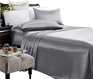 ARTALL Silky Super Soft 4 Piece Deep Pocket Satin Sheet Set, Queen Size Grey