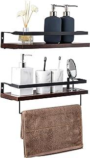 TOLEAD フローティングシェルフ 壁取り付け式 木製 素朴な収納棚ラック キッチン バスルーム 寝室 リビングルーム 16.5インチ 2セット