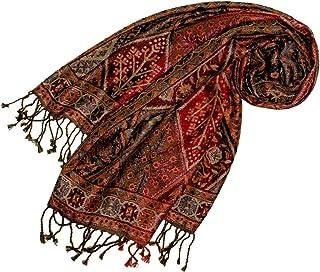 Lorenzo Cana Damen Pashmina Schal Schaltuch aus Seide und Wolle 70 cm x 190 cm Braun Bronze Paisleymuster Schaltuch Stola Umschlagtuch gewebt 78097