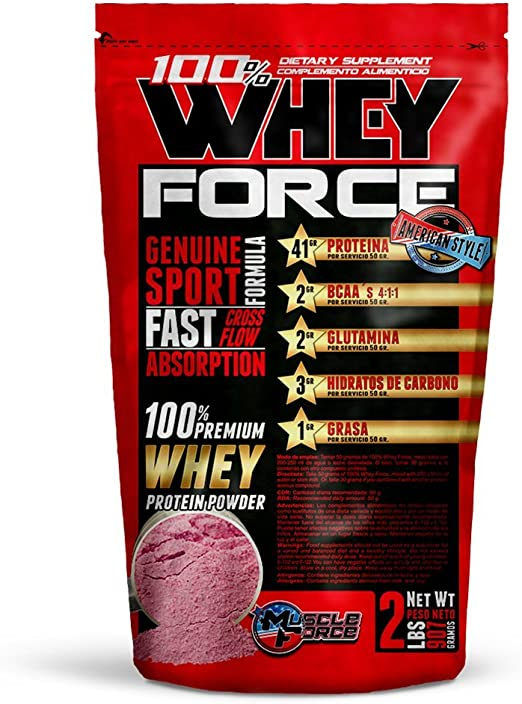 100% Whey Force, Concentrado de proteína de suero de Leche. Peso Neto 907gr. Sabor:Chocolate