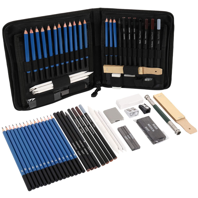 Juego de 40 lápices de dibujo para artistas profesionales con estuche de transporte, lápices de carbón pastel y accesorios 5H a 8B: Amazon.es: Oficina y papelería