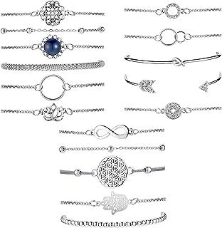 Hicarer 16 Piece Layered Bracelet Set Vintage Flower Hand Chain Beaded Bracelet Adjustable Charm Pendent Stack Bracelet
