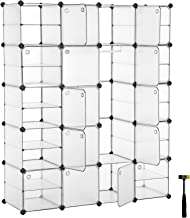 SONGMICS Plastic Closet Wardrobe with 20 Slots, 10 Customizable Shelves, 2 Hanging Sections, Portable, Versatile Modular Organizer with Hooked Doors, Storage for Bedroom, White ULPC801W