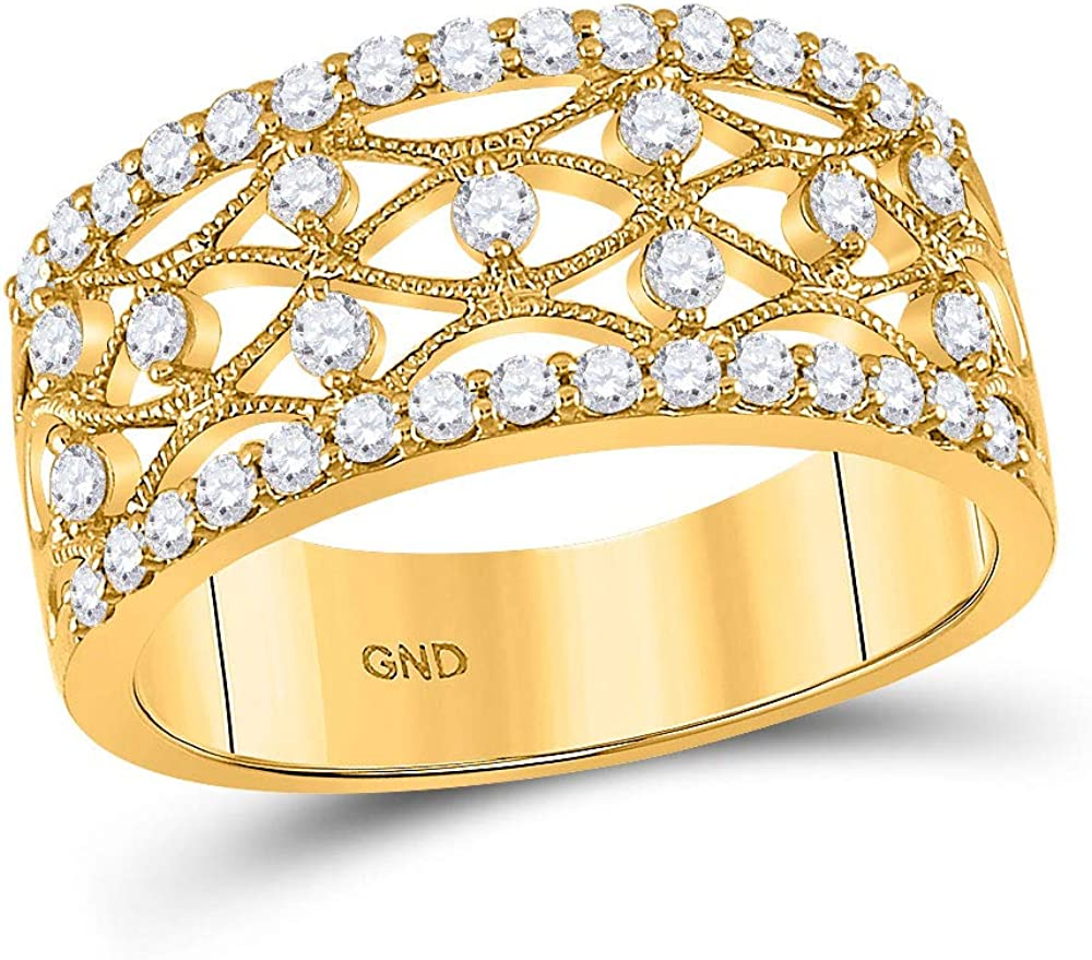 14kt Yellow Gold Round Diamond Band Cttw Sale special price 5 8 Ring High order Women for