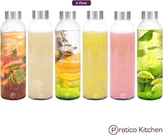 Pratico Kitchen 18oz Leak-Proof Glass Bottles, Juicing Containers, Water/Beverage Bottles - 6-Pack