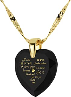 Nano Jewelry Heart Pendant I Love You Necklace 12 Languages 24k Gold Inscribed on CZ Gemstone, 18