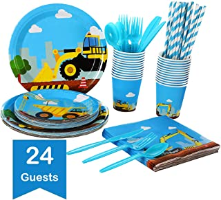 Construction Kids Birthday Party Supplies Set – Serves 24 Guests - Dump Truck Disposable Tableware Pack– Includes Paper Plates, Cups, Straws, Napkins, Knives, Spoons, Forks