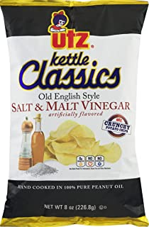 Utz Kettle Classics Salt & Malt Vinegar Crunchy Potato Chips 8 oz. Bag (4 Bags)